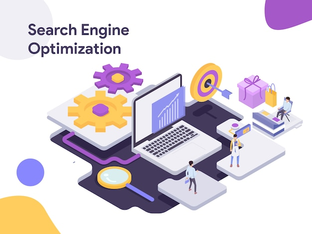 Search engine isometric optimization illustration