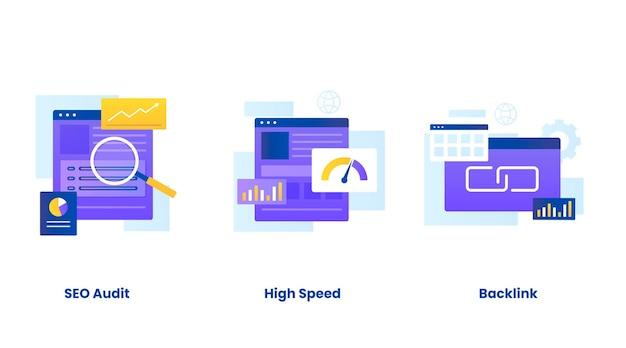 Набор иллюстраций концепции поисковой оптимизации