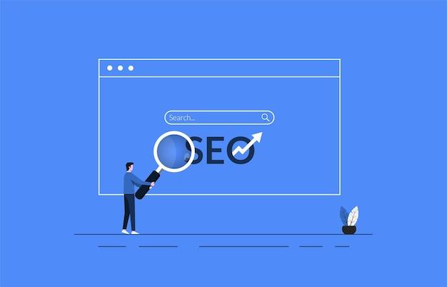 Концепция поисковой оптимизации на дизайне браузера с человеком, держащим иллюстрацию символа увеличительного стекла.