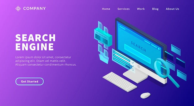 웹 사이트 템플릿 또는 방문 홈페이지에 대한 그래프 및 차트와 컴퓨터 화면 및 검색 페이지 결과 순위와 검색 엔진 최적화 개념 프리미엄 벡터