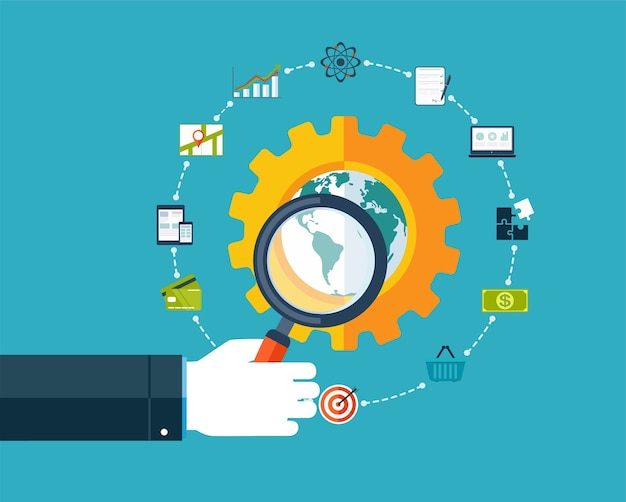 Search engine optimization, hand with magnifier around business icons.