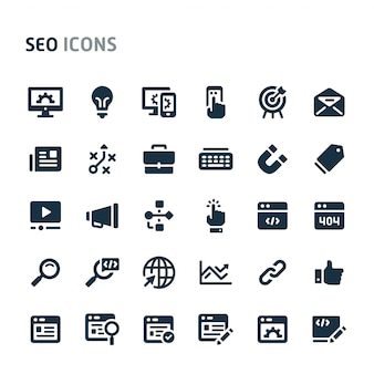 Search engine optimization icon set. fillio black icon series.