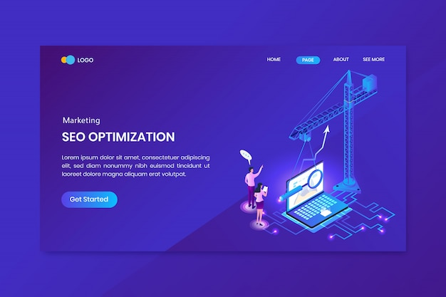 Search engine optimization isometric concept landing page