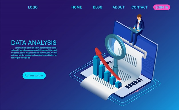 Search engine optimization isometric landing page