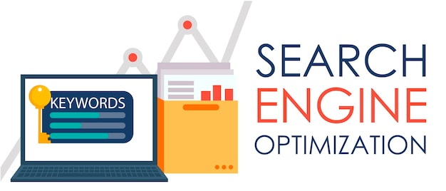 Search engine optimization. laptop with a folder of documents and graphs and key.