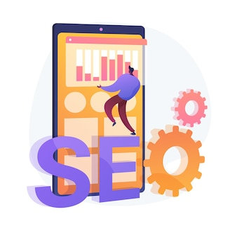 Search engine optimization. online promotion. smm manager cartoon character. mobile settings, tools adjustment, business platform. website analysis. vector isolated concept metaphor illustration