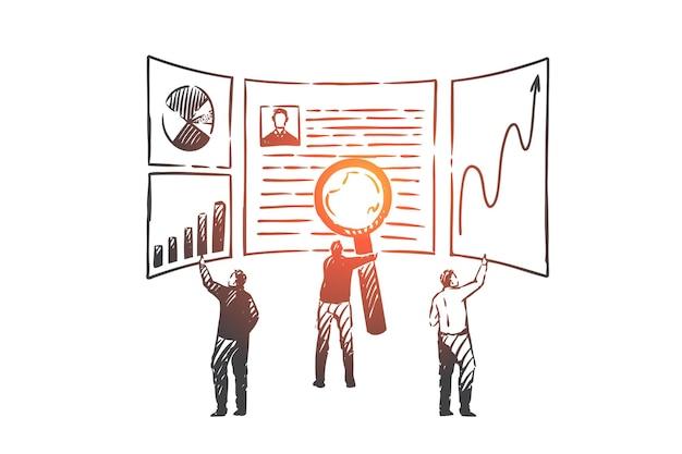 검색 엔진 최적화, seo 개념 스케치. 비즈니스 지표 및 데이터베이스 분석에서 세부 정보를 찾는 비즈니스 사람들. 손으로 그린 격리 된 벡터 일러스트 레이 션
