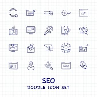 Search engine optimization seo doodle icon set