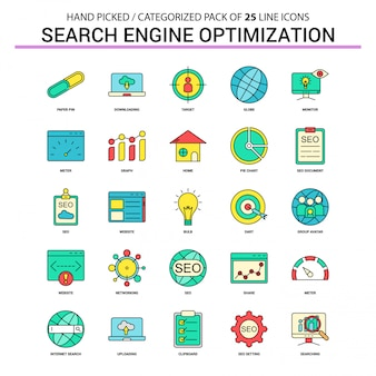 Search engine optimization seo flat line icon set