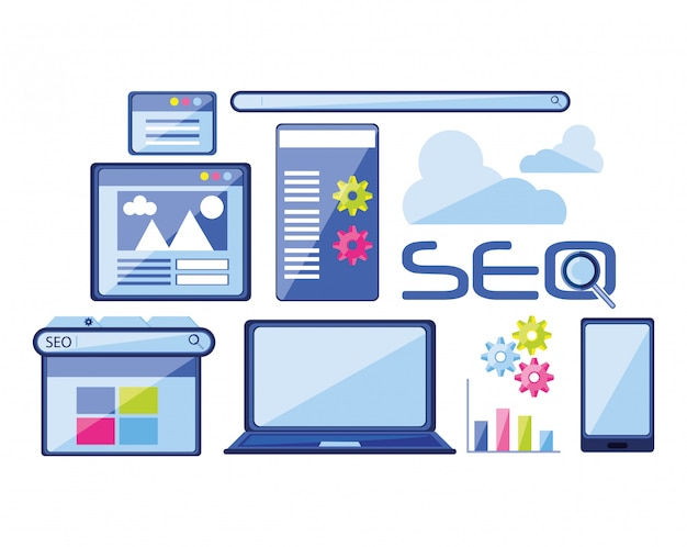 Seo Search Icons Vector