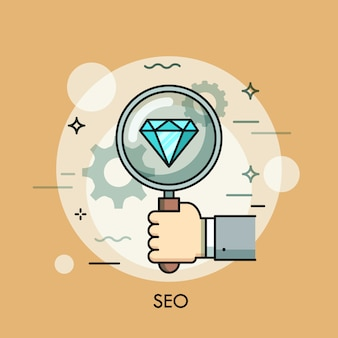 Search engine optimization thin line illustration