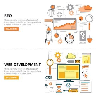 Search engine optimization and web development flat thin line