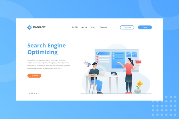 Search engine optimizing illustration for e-commerce concept on landing page