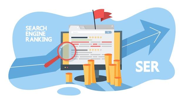 検索エンジンのランキングの概念。 webページを評価し、評価を向上させます。サイトのグレード。図
