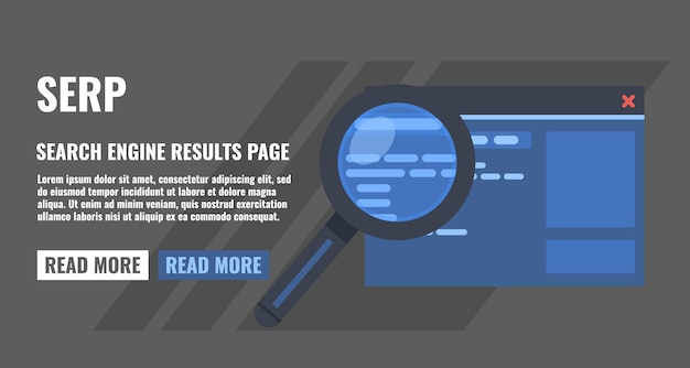 Search engine result page, magnifying glass and page of website