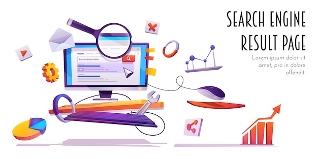 Search engine result page, serp cartoon banner.