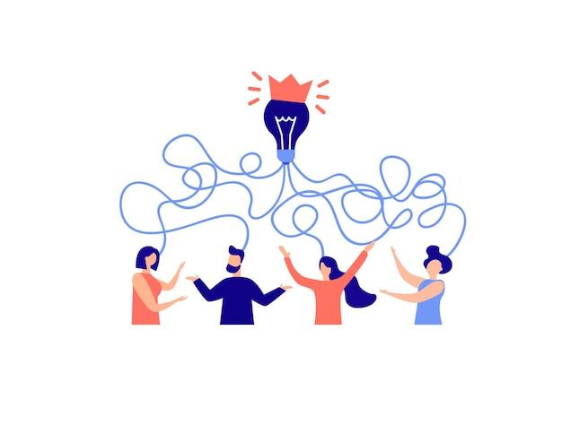 아이디어 검색, 생각의 혼란, 브레인스토밍, 비즈니스 문제 해결의 개념..