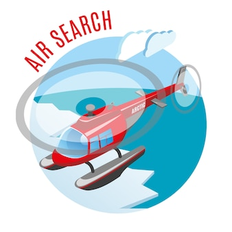 Search from air round isometric composition with helicopter above polar ice and arctic ocean