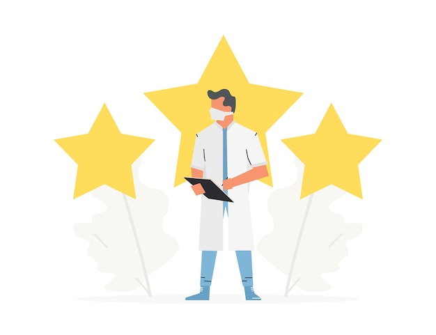Search good doctor five star rating the doctor stands in front of 3 large stars