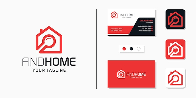 Search home logo and business card design template