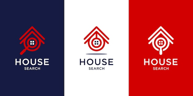 Search home logo design with line art style