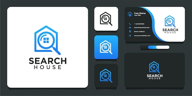 Search house logo design in modern style and business card