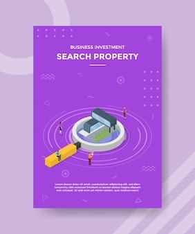 アイソメトリックスタイルのテンプレートバナーとチラシの家またはプロパティの概念を検索します
