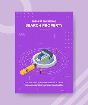 Search house or property concept for template banner and flyer with isometric style