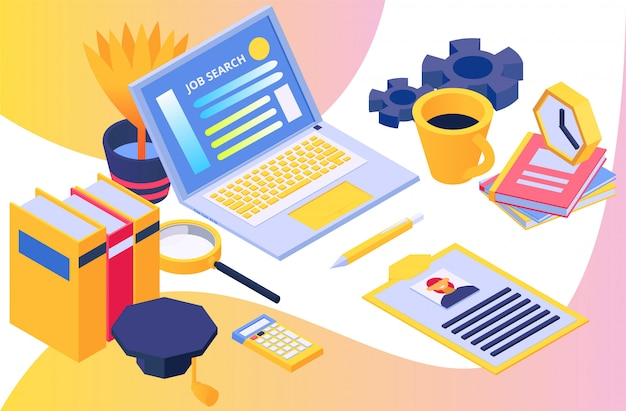 Search for human resources, concept job search, isometric vector illustration. design business, laptop work, hr employment and workplace.