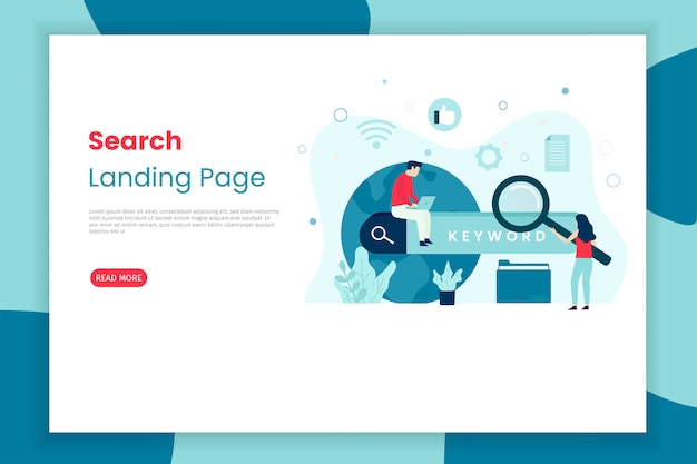 Search illlustration landing page with people character