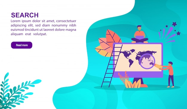 Search illustration concept with character. landing page template