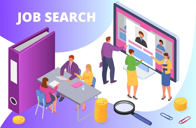 Search job, isometric vector illustration. employment work, man woman character look at online candidate resume at computer screen. recruitment interview with manager, hiring concept.