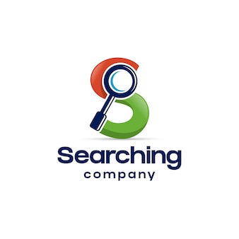 Search magnifier s letter logo design