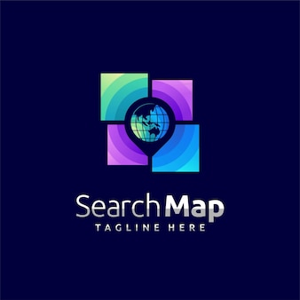 Search map logo with pin concept