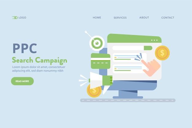 Вектор концепции поискового маркетинга ppc