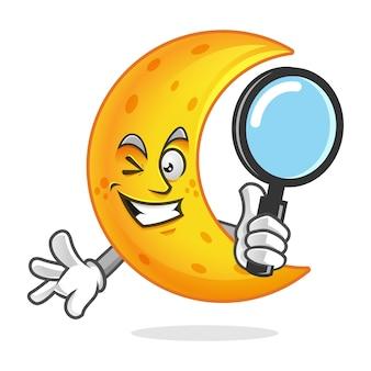 検索ムーンマスコット虫眼鏡を保持