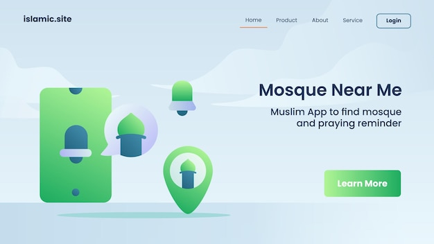 Search mosque near me for website template landing or homepage design