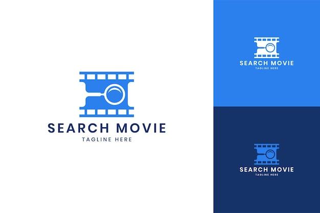 Search movie negative space logo design
