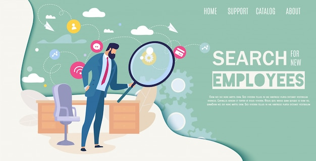 Search for new employees flat vector web banner