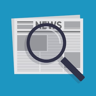 Search for news flat design vector illustration