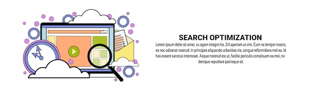 Search optimization concept horizontal banner template