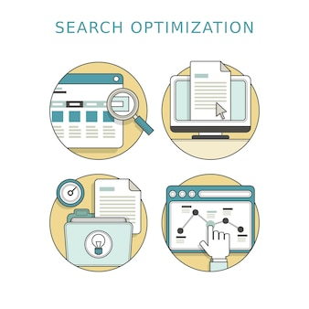 Search optimization concept in thin line style