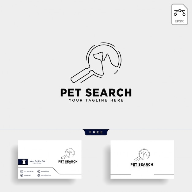 Search pet animal logo template with line art style