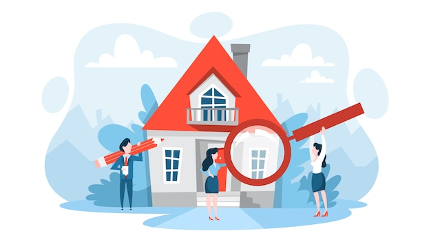 Search property with magnifying glass. idea of real estate