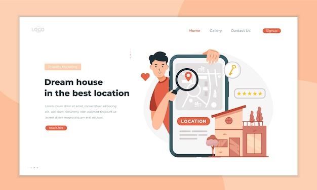 Поиск иллюстрации местоположения недвижимости на концепции целевой страницы