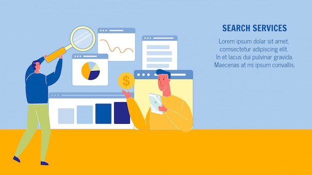 Search services web banner layout with text space