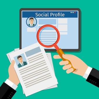 Поиск в социальном профиле. планшет с социальной сетью. плоский дизайн