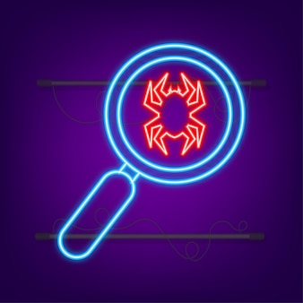 Search virus computer in flat style neon icon protection symbol internet technology