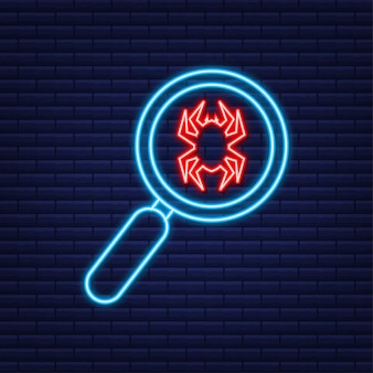 Найдите вирусный компьютер в плоском стиле. неоновая иконка. символ защиты. интернет-технологии. защита данных. векторная иллюстрация.