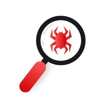 フラットスタイルでウイルスコンピュータを検索します。保護記号。インターネット技術。データ保護。ベクトルストックイラスト